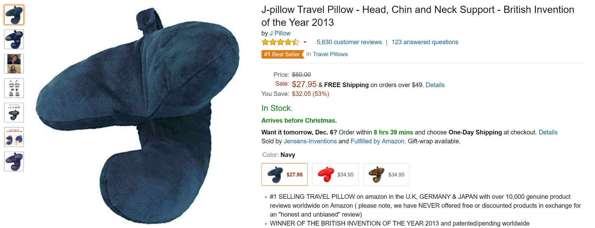 Amazon product title for the J-Pillow